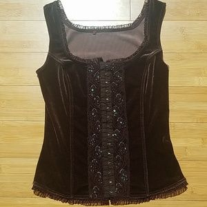 Velour sequined corset style top